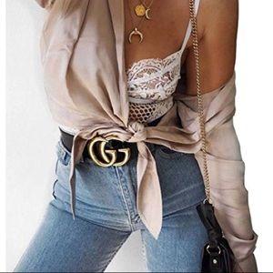 Women's leather  thin GG belt